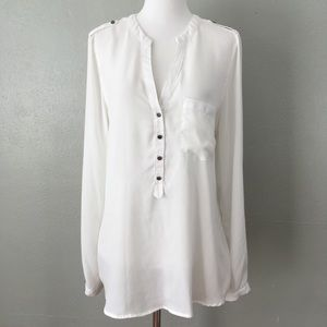 Kenneth Cole Reaction Polyester White Blouse